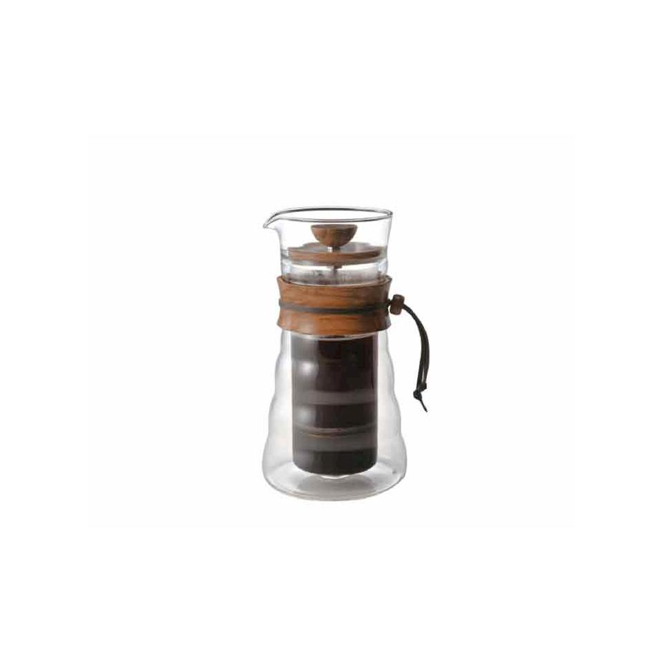 Tisaniera caffè Press in vetro e legno di ulivo cl 40