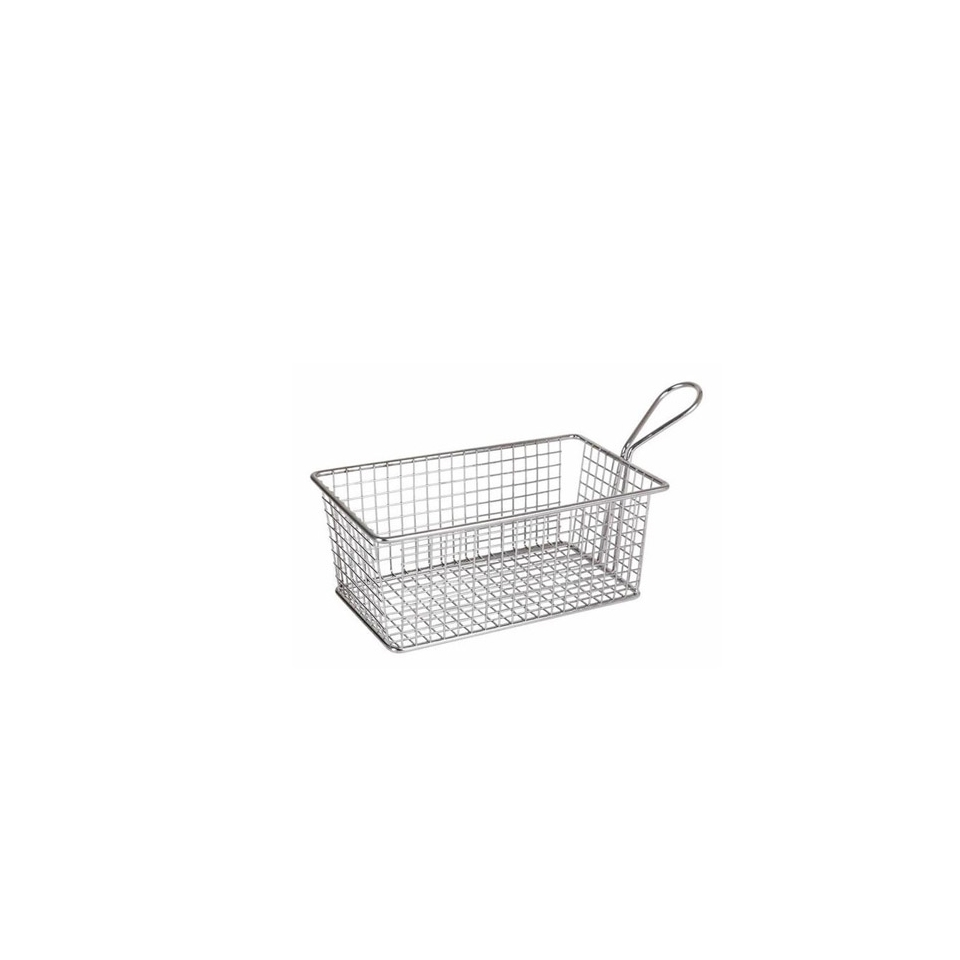 Minicestello Per Fritti Rettangolare In Acciaio Inox Cm 20x12