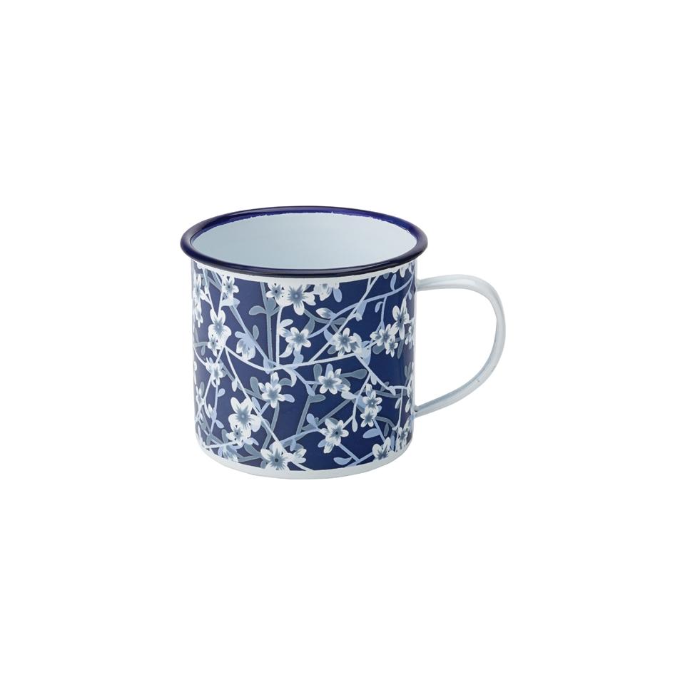 Tazza mug con decoro floreale smaltata blu cl 38