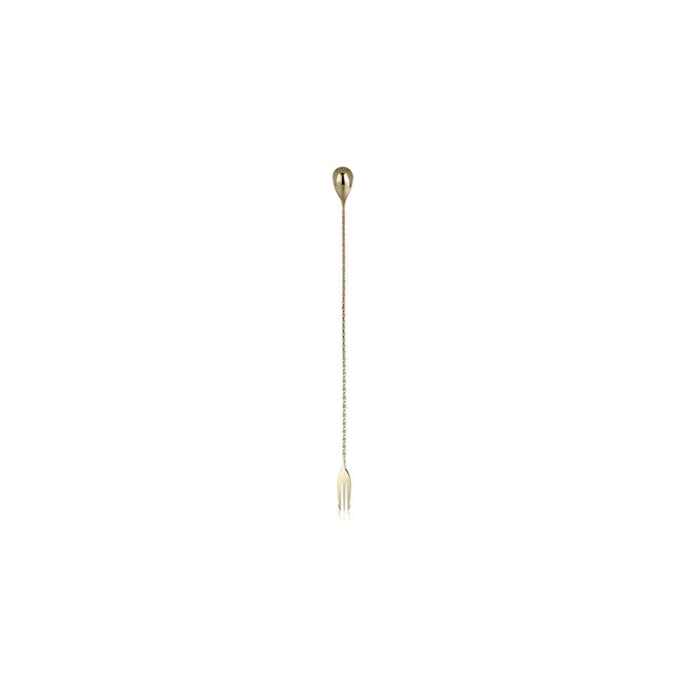 Bar spoon con forchetta in acciaio inox bronzo cm 40