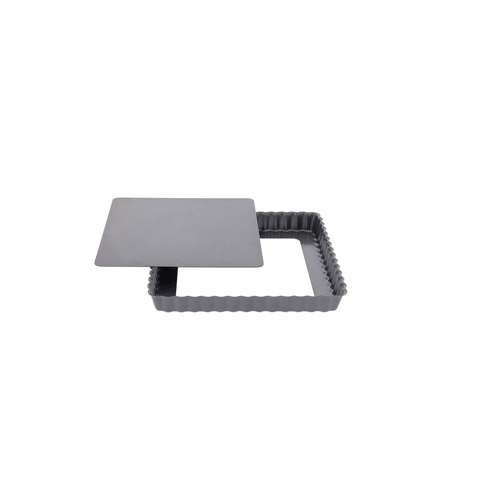 Tortiera quadra festonata De Buyer con fondo mobile in acciaio inox antiaderente
