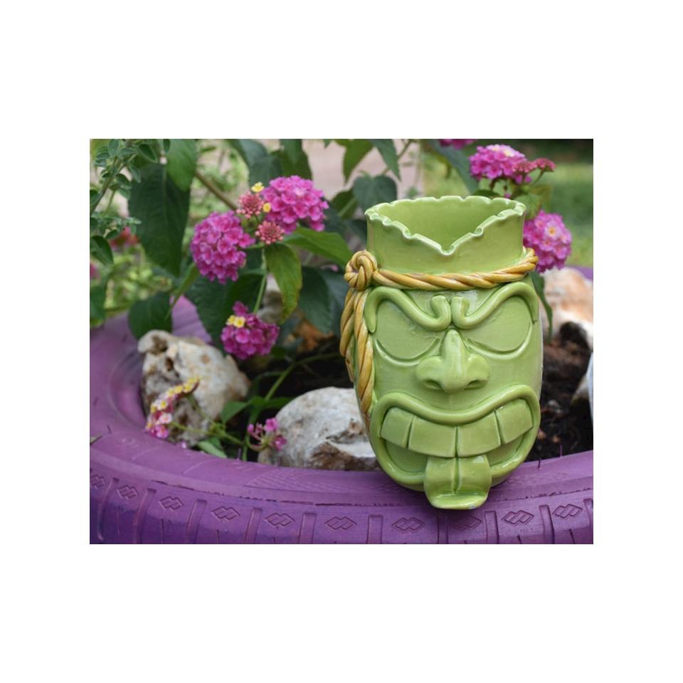Tiki Mug Fighter in in porcellana verde cl 55