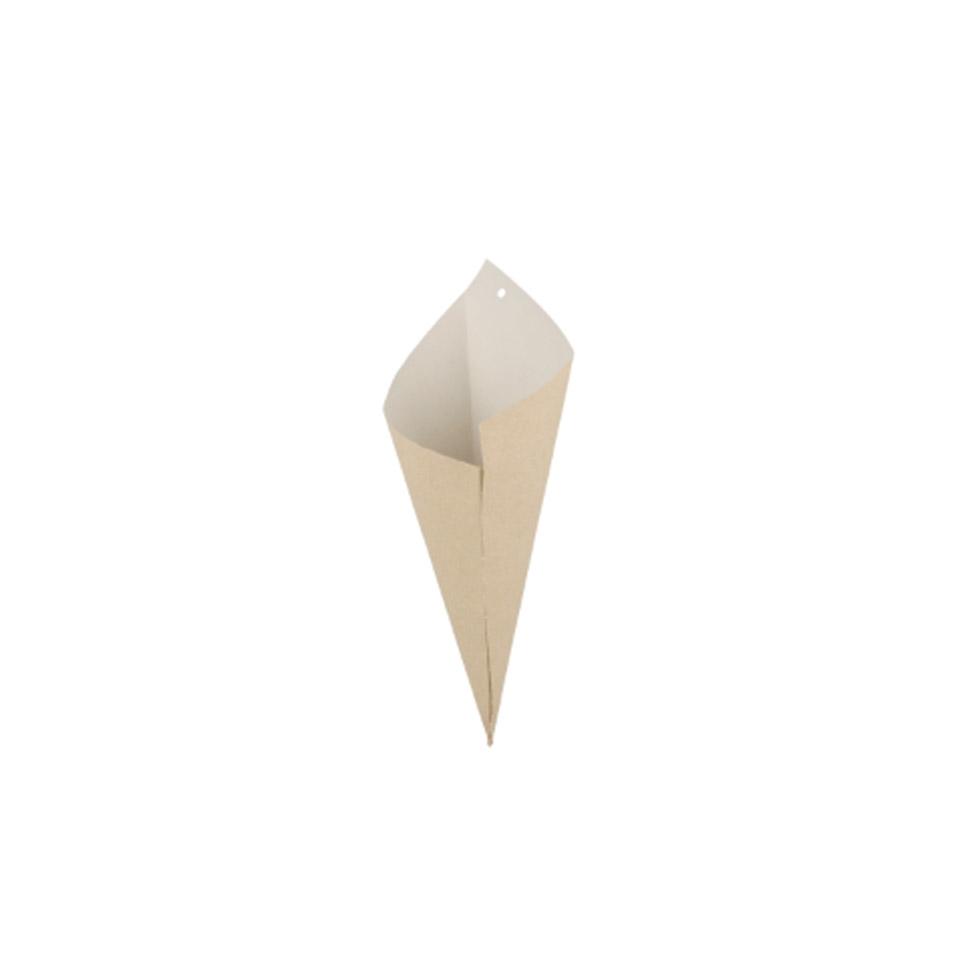 Coni monouso in carta marrone con interno bianco
