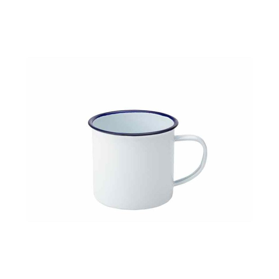 Tazza Mug In Metallo Smaltato Bianco Cl 38