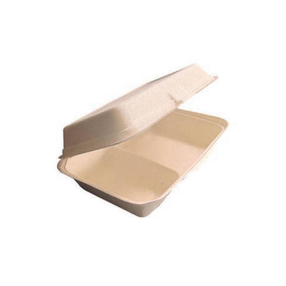 Contenitore 2 scomparti con coperchio in polpa di cellulosa cm 23x16,5x6