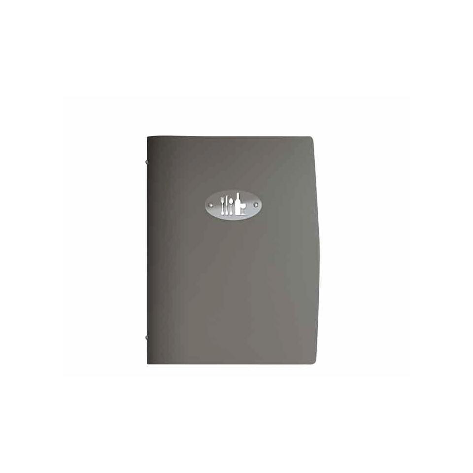 """Porta Menù Modern A4 """"Posate e vini"""" In Pelle tortora Cm 31,5×24"""