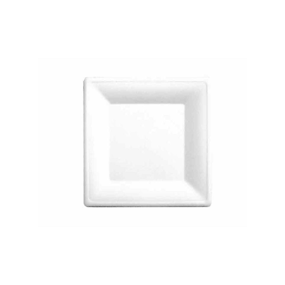 Piattino quadrato Bionic in polpa cellulosa bianca