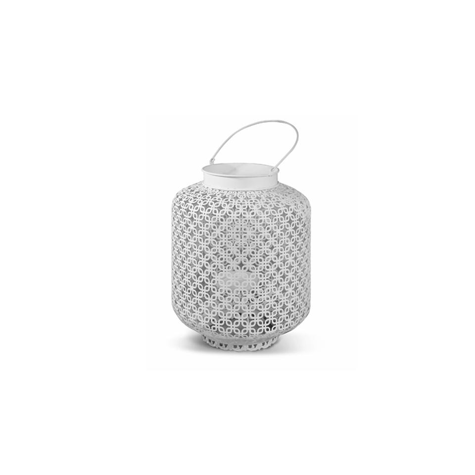 Lanterna Macramè in metallo bianco cm 32x51