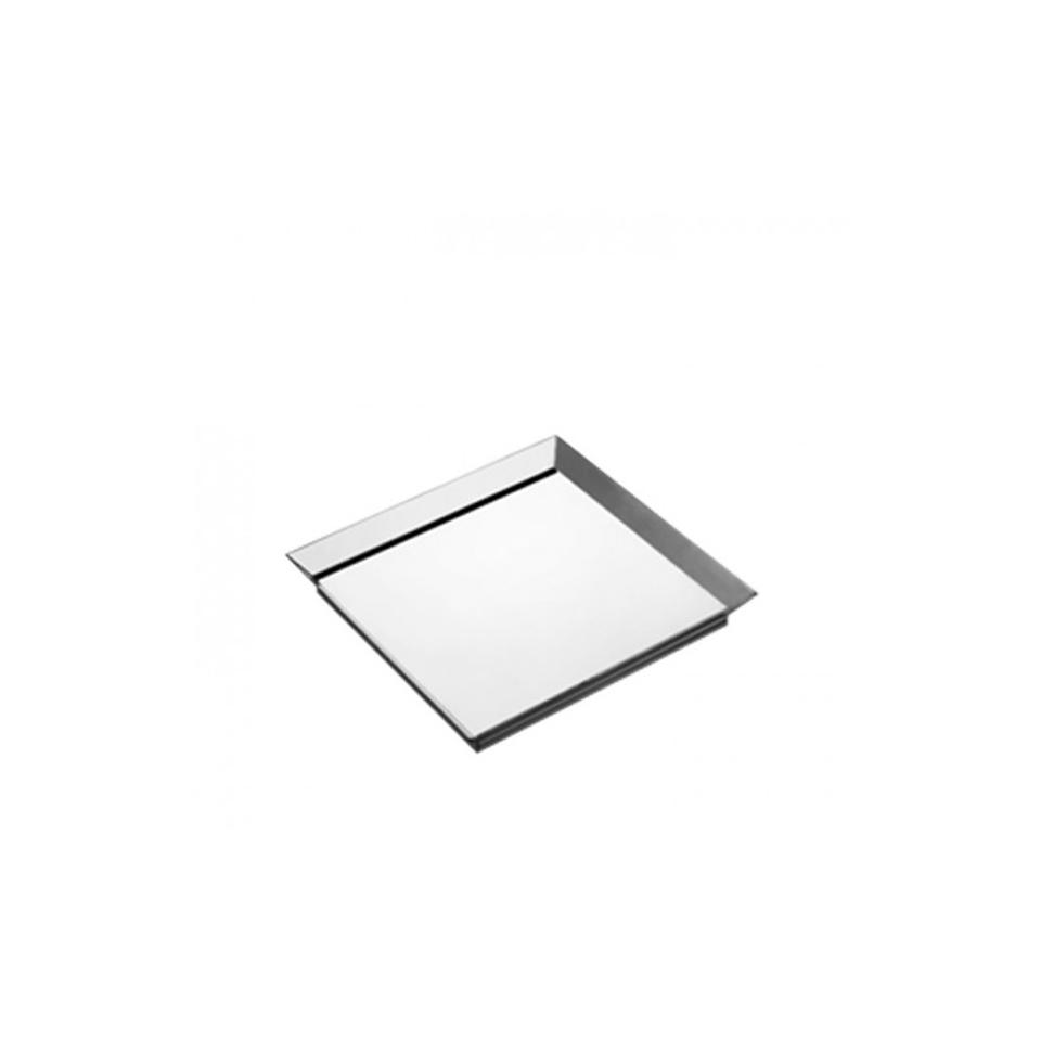Piattino quadro in plastica argento cm 15x15