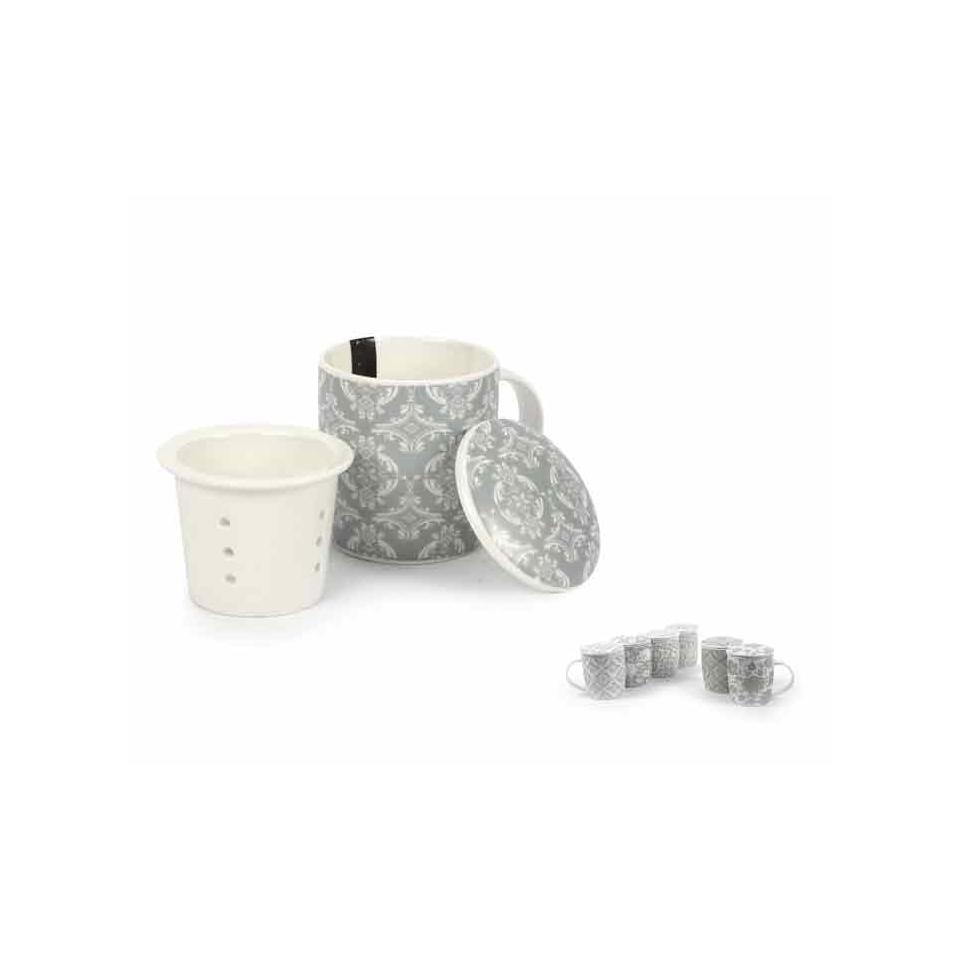 Tisaniera Arabesque in porcellana grigio con filtro cm 11x8