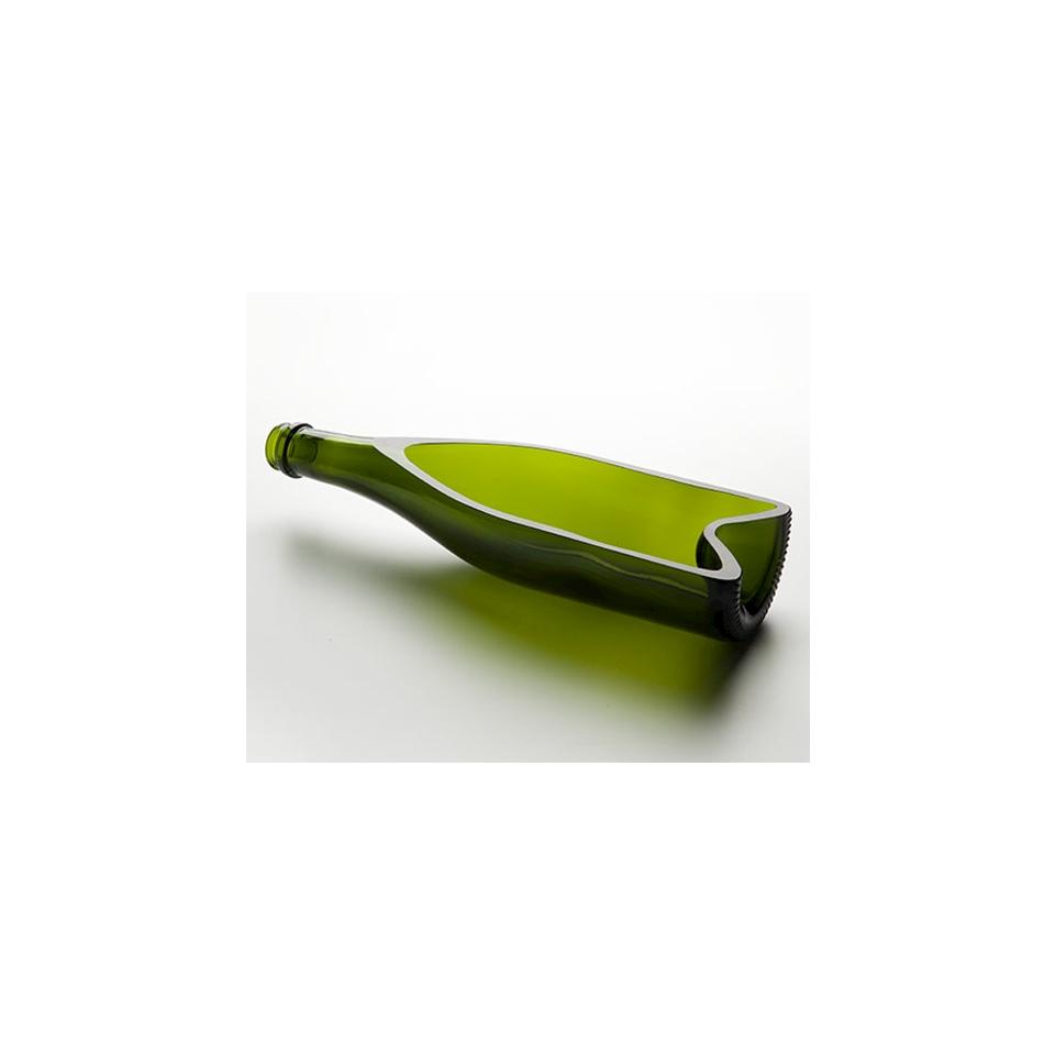 Piatto bottiglia cava 100% Chef in vetro color verde