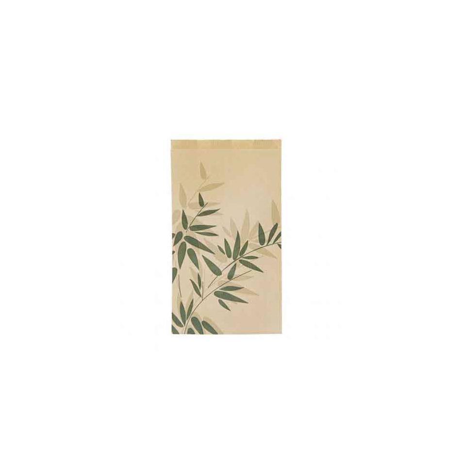 Sacchetti Croissant con decoro Feel Green in carta beige cm 14x26