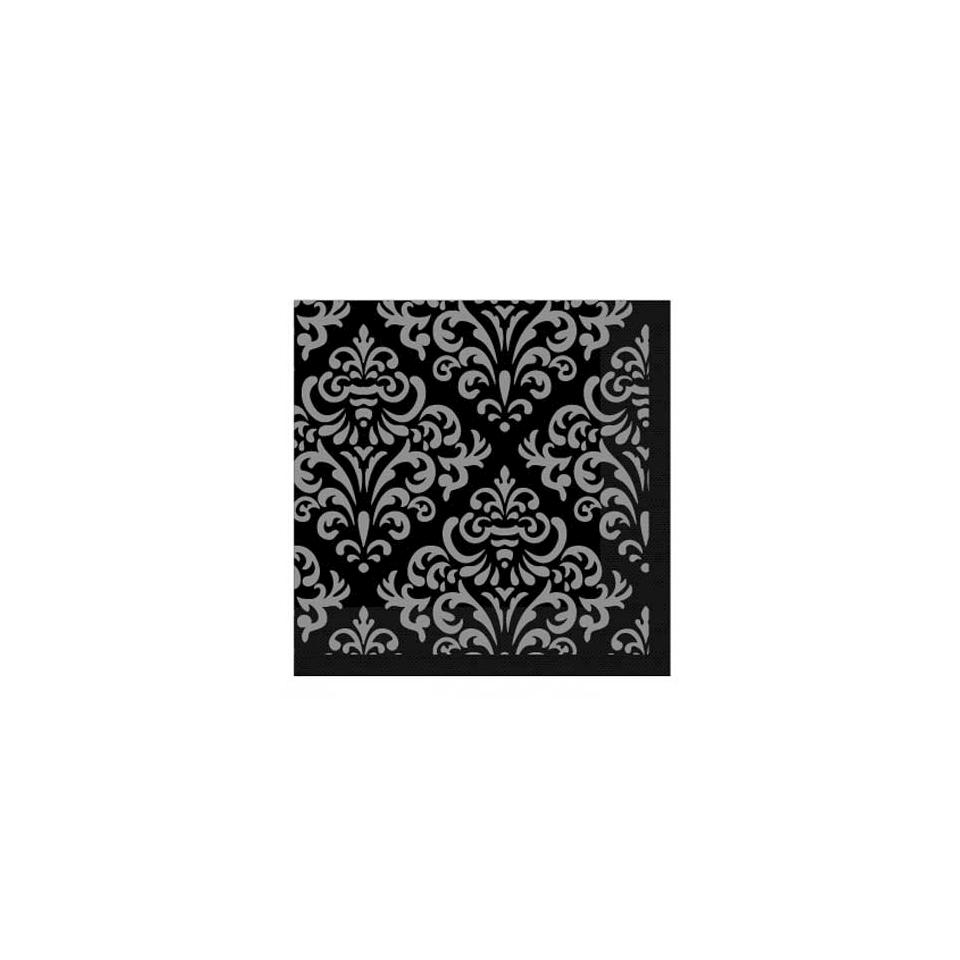 Tovagliolo Damascato in carta nero e argento cm 25x25