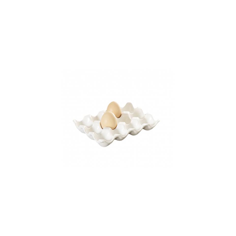 Vassoio porta uova in porcellana bianca cm 19x14x3,5