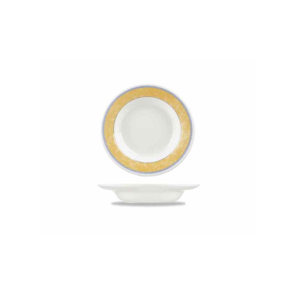 Piatto fondo New Horizons in ceramica vetrificata gialla cm 23