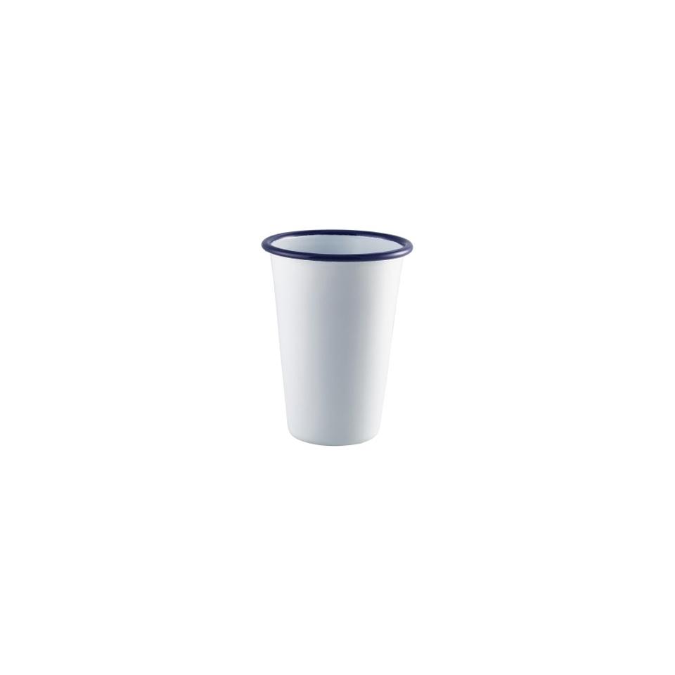 Tazza mug smaltata bianca con rigo blu cl 40