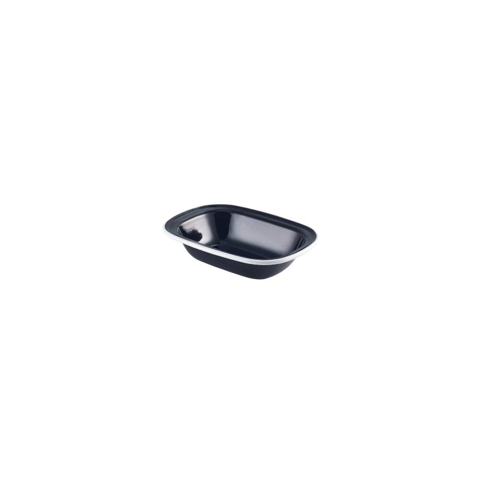 Coppetta rettangolare smaltata nera con rigo bianco