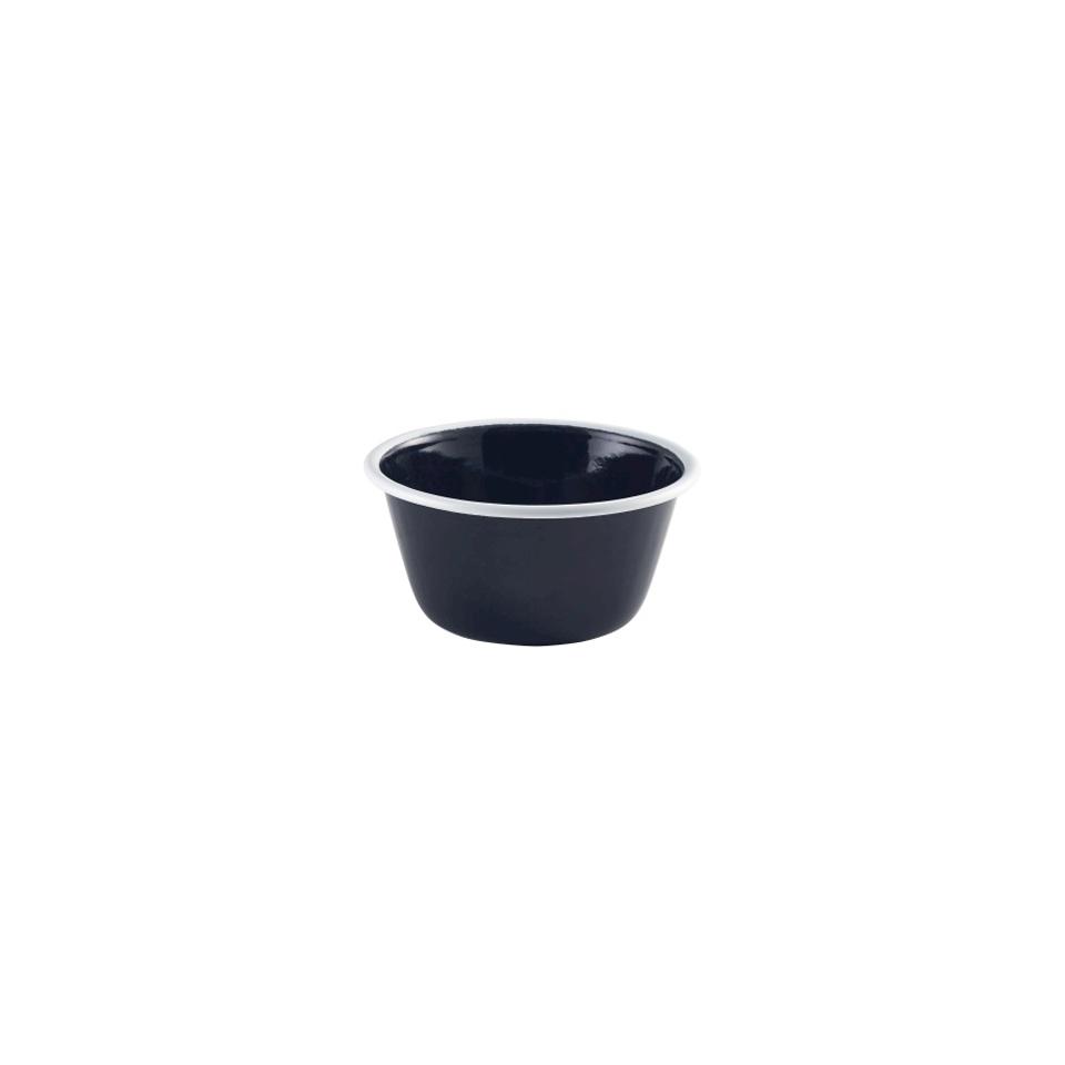 Coppetta tonda smaltata nera con rigo bianco cm 13