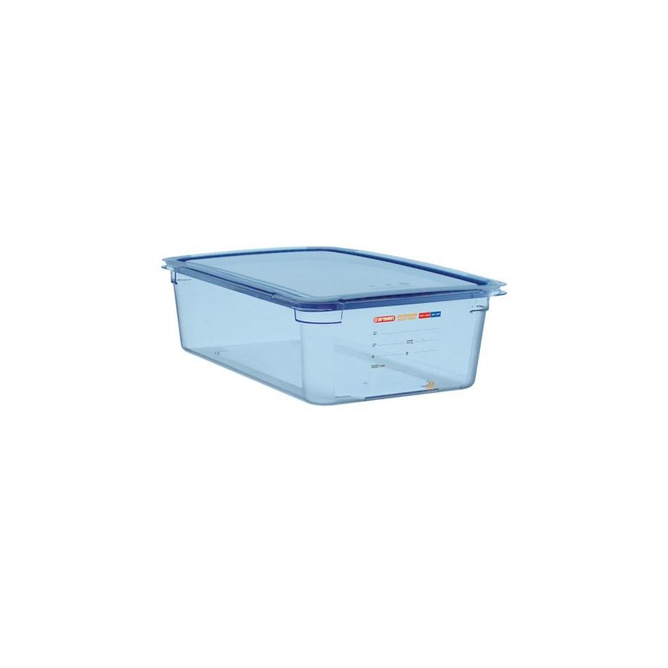 Contenitore 1/2 in plastica azzurra con coperchio altezza cm 10