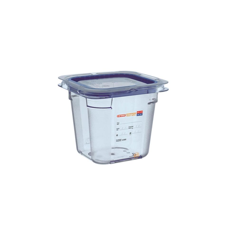Contenitore 1/6 in plastica azzurra con coperchio altezza cm 10
