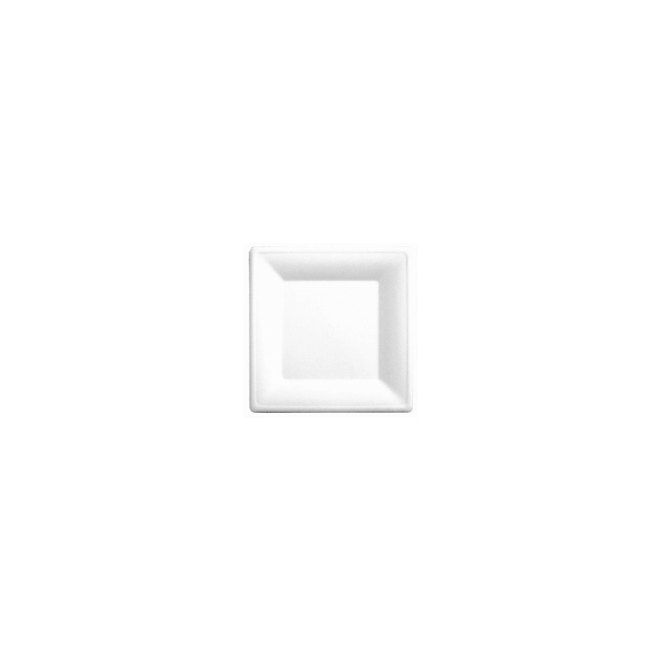 Piatto Bionic monouso in polpa di cellulosa bianca cm 26,2x26,2