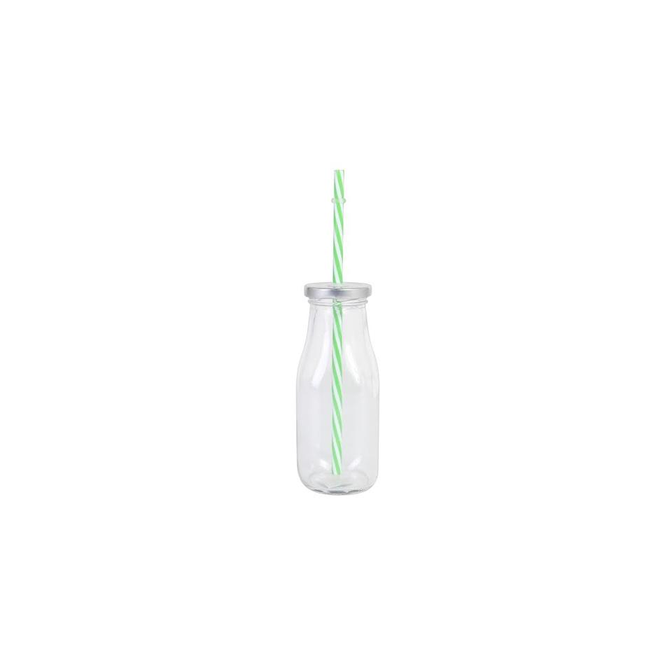 Bicchiere latte Country in vetro con cannuccia cl 33