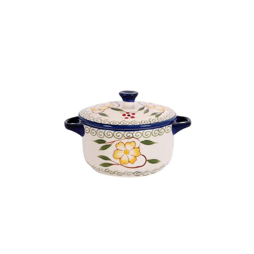 Mini casseruola decorata blu con coperchio in porcellana cl 24