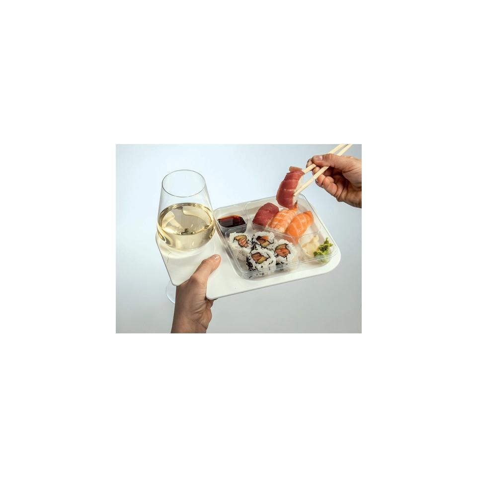 Piatto aperitivo bianco con vassoio 4 scomparti In Pè