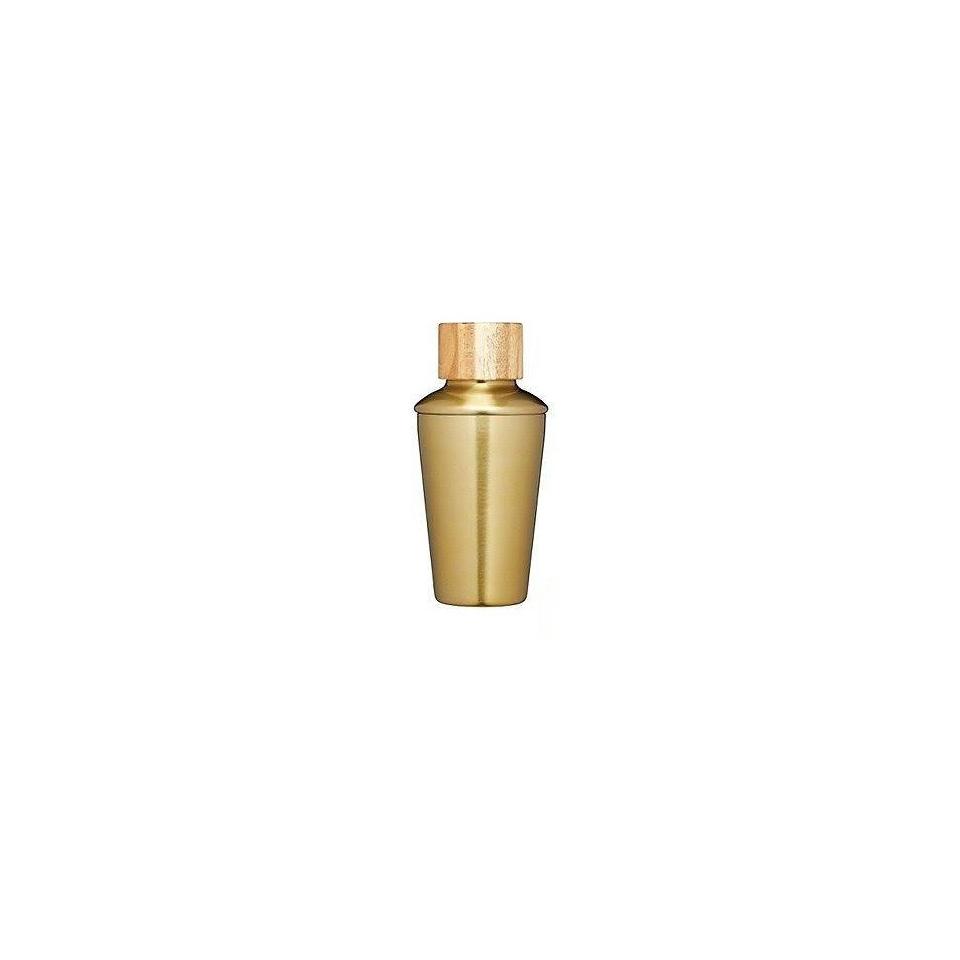 Cobbler shaker in acciaio ottonato con tappo in legno cl 35