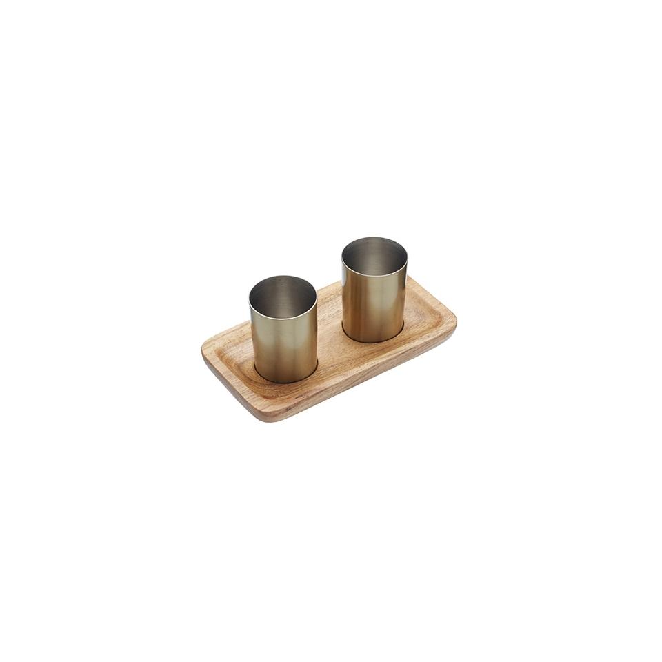 Set 2 bicchieri shot in ottone con vassoio in legno