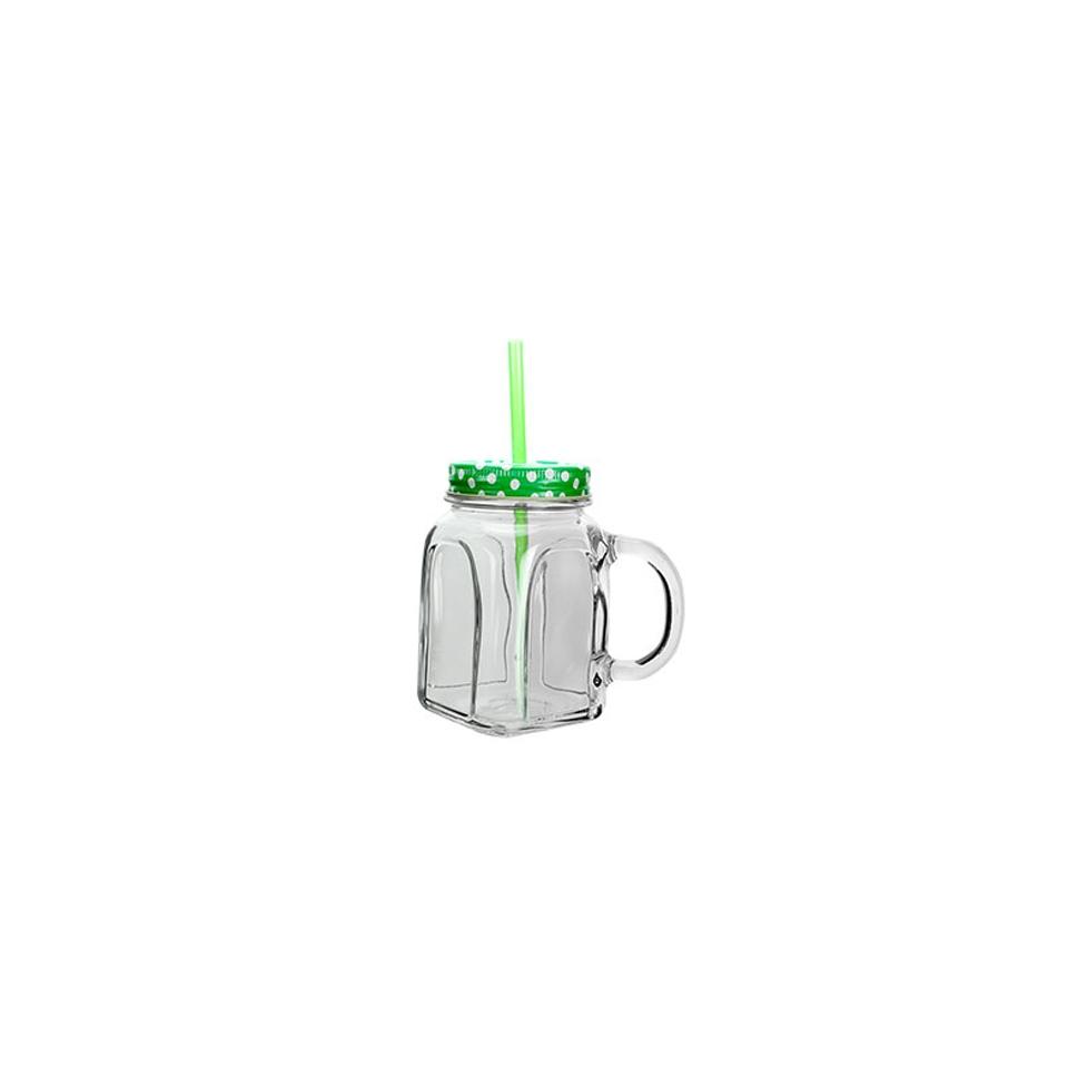 Bicchiere barattolo con cannuccia e coperchio verdi in vetro cl 45