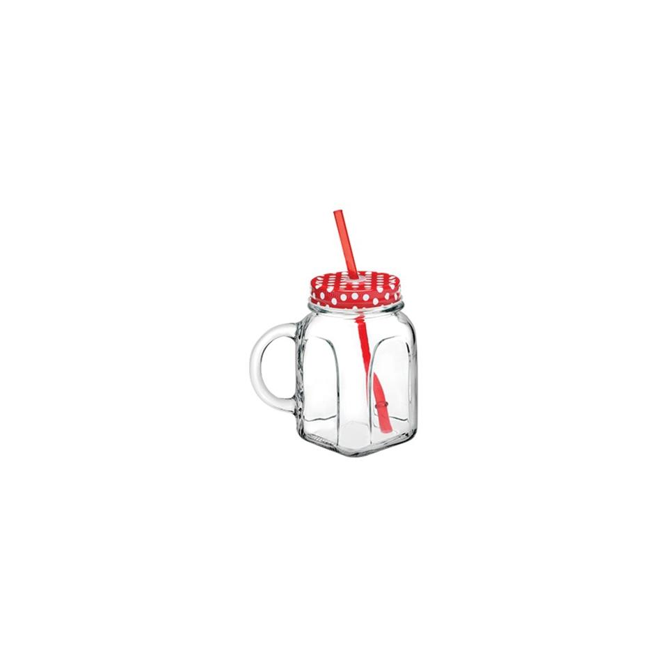Bicchiere barattolo con cannuccia e coperchio rossi in vetro cl 45