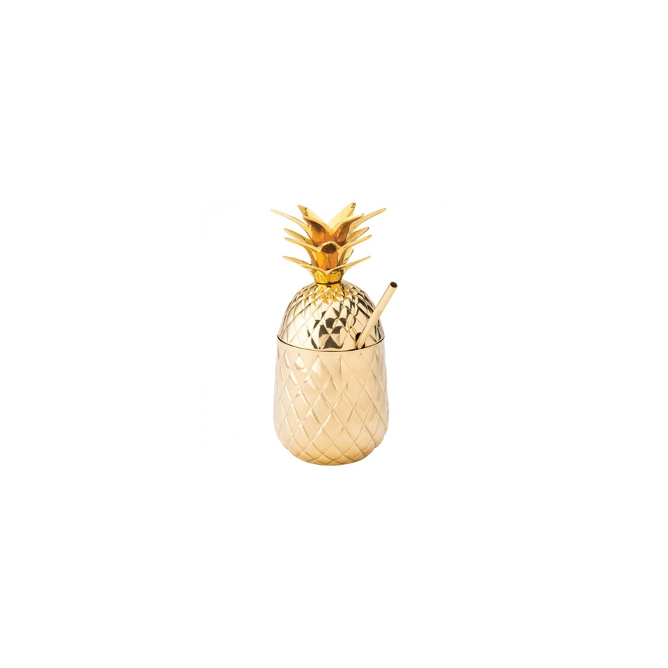 Bicchiere Pineapple Hawaii in acciaio dorato con cannuccia cl 57