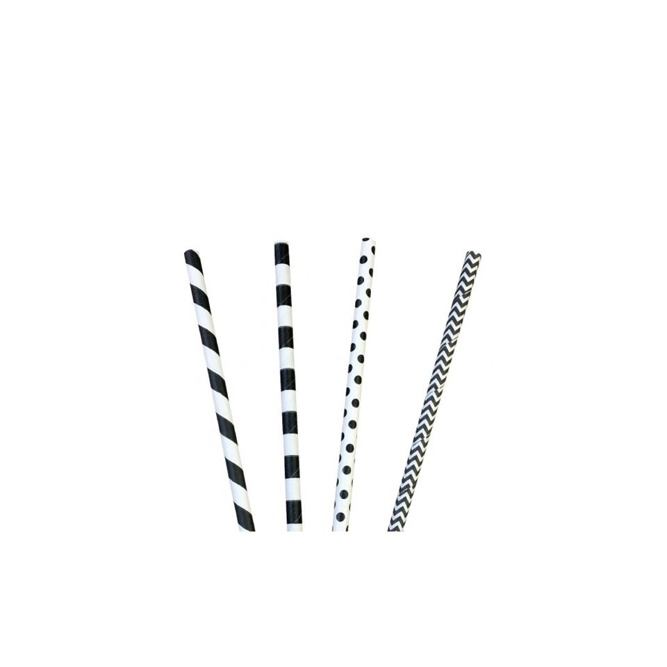 Cannucce decori vari in carta bianca e nera cm 20x0,6