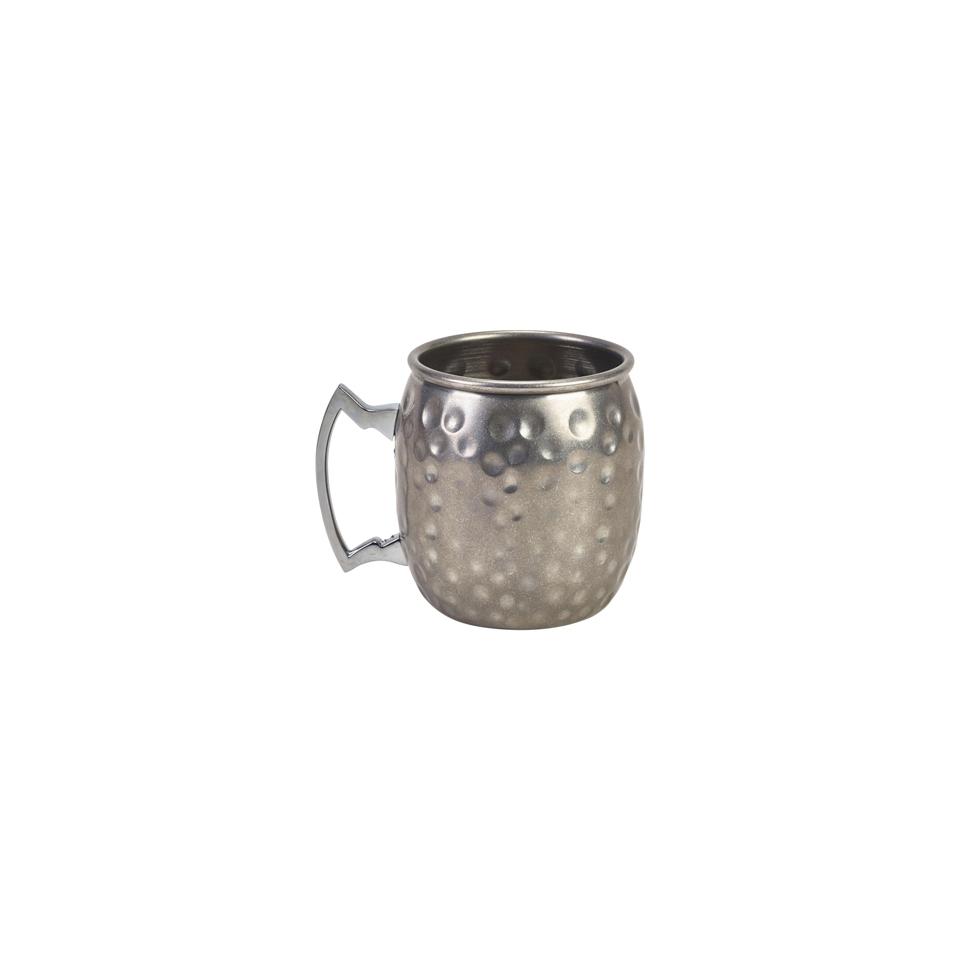 Boccale mug bombato in acciaio inox anticato martellato cl 40