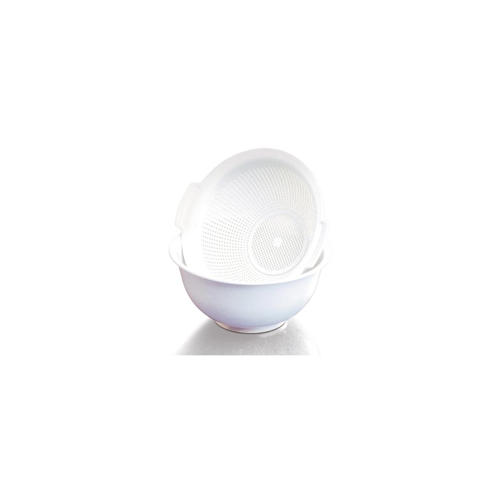 Bowl con colapasta Araven in polipropilene bianco cm 23,5