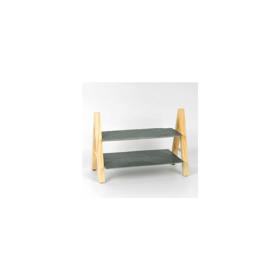Alzata 2 piani in legno e ardesia cm 27,5x33x20