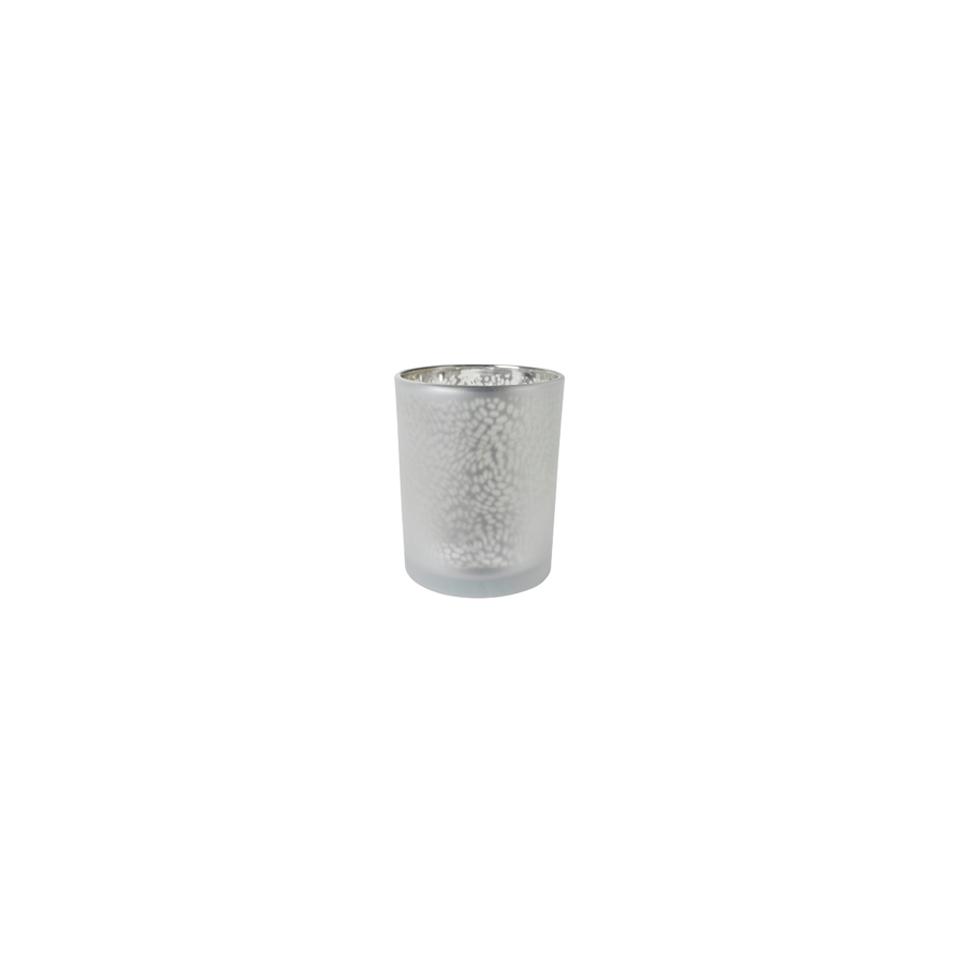 Portacandela Arctic in vetro argento cm 6x7,5