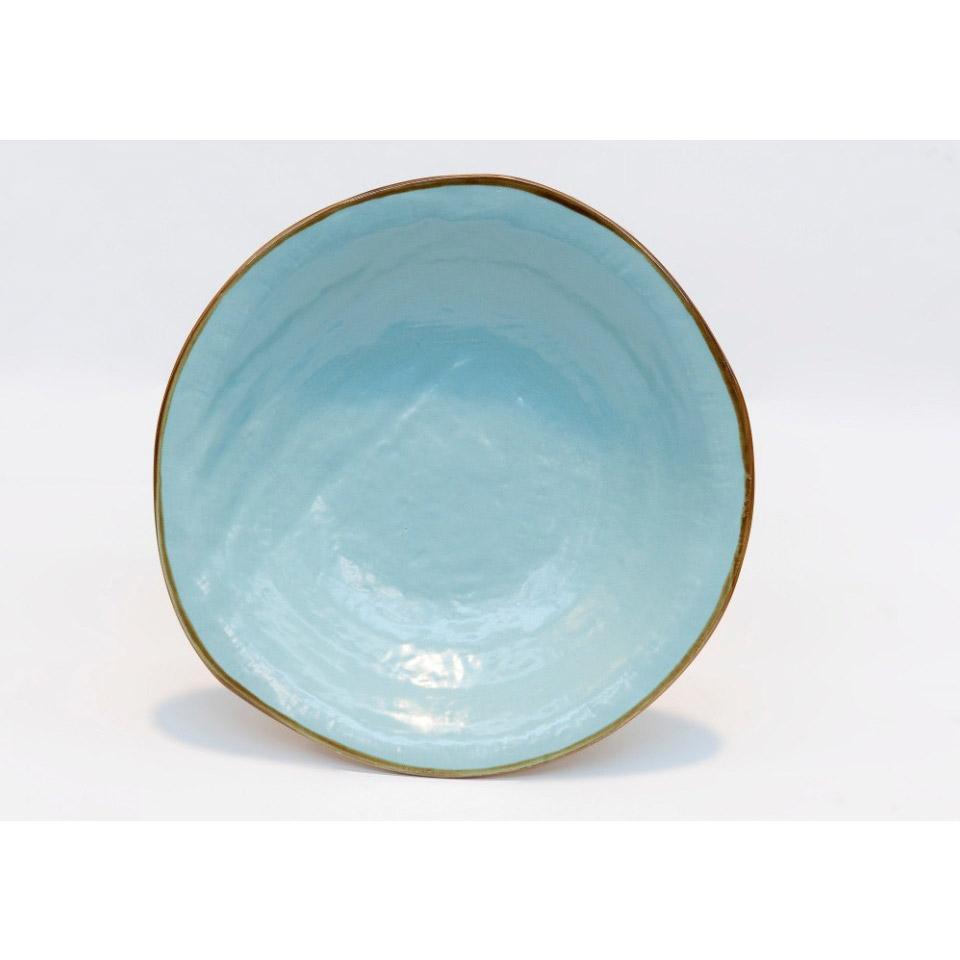 Piatto piano Mediterraneo in ceramica turchese