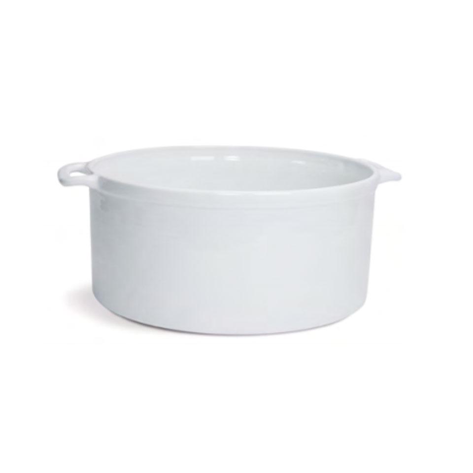 Casseruola tonda 2 manici in porcellana bianca cm 32x14,5