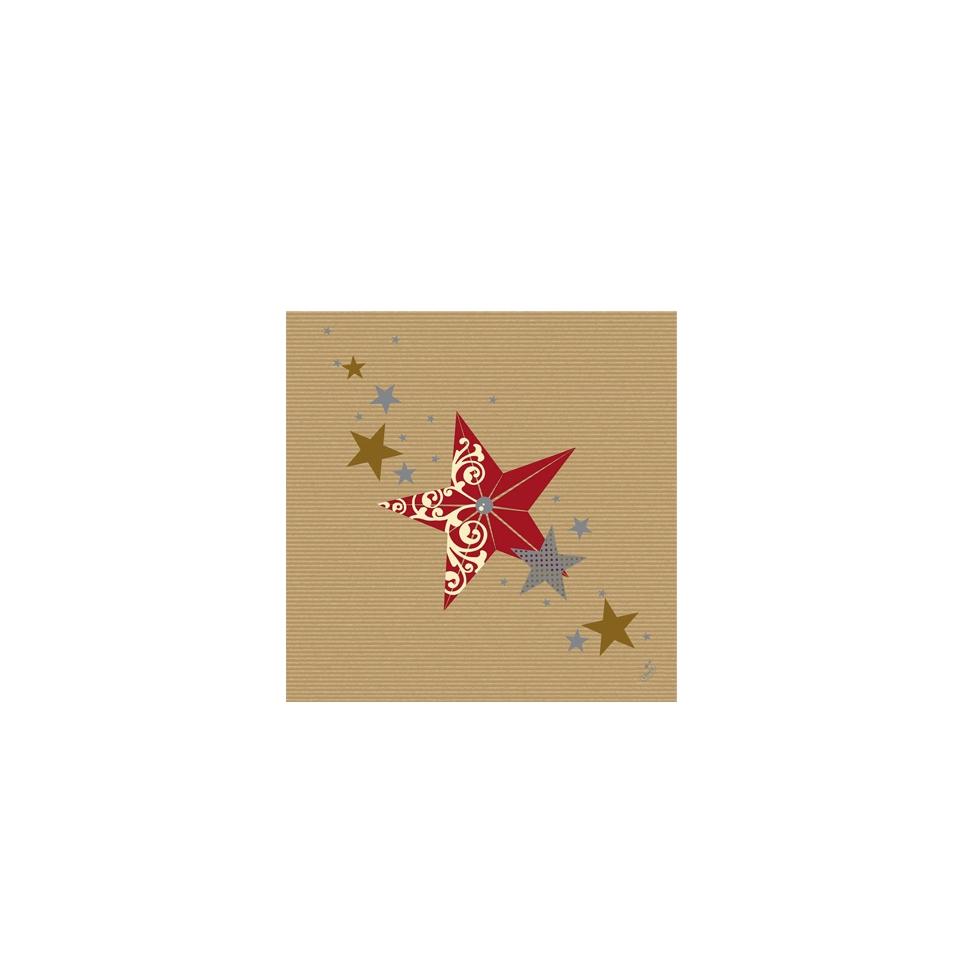 Tovagliolo Natale Stella Duni in dunilin marrone cm 40x40