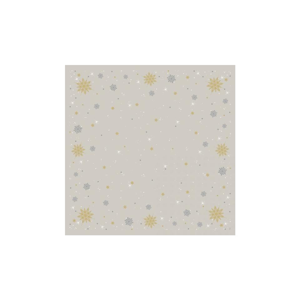 Tovaglia coprimacchia Natale Duni in cellulosa beige cm 84x84
