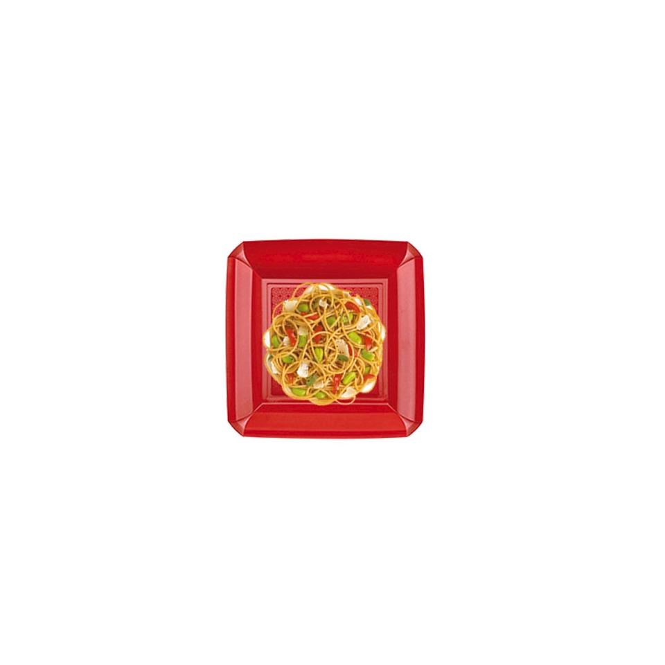 Piatto fondo Dandy in plastica rosso cm 18x18