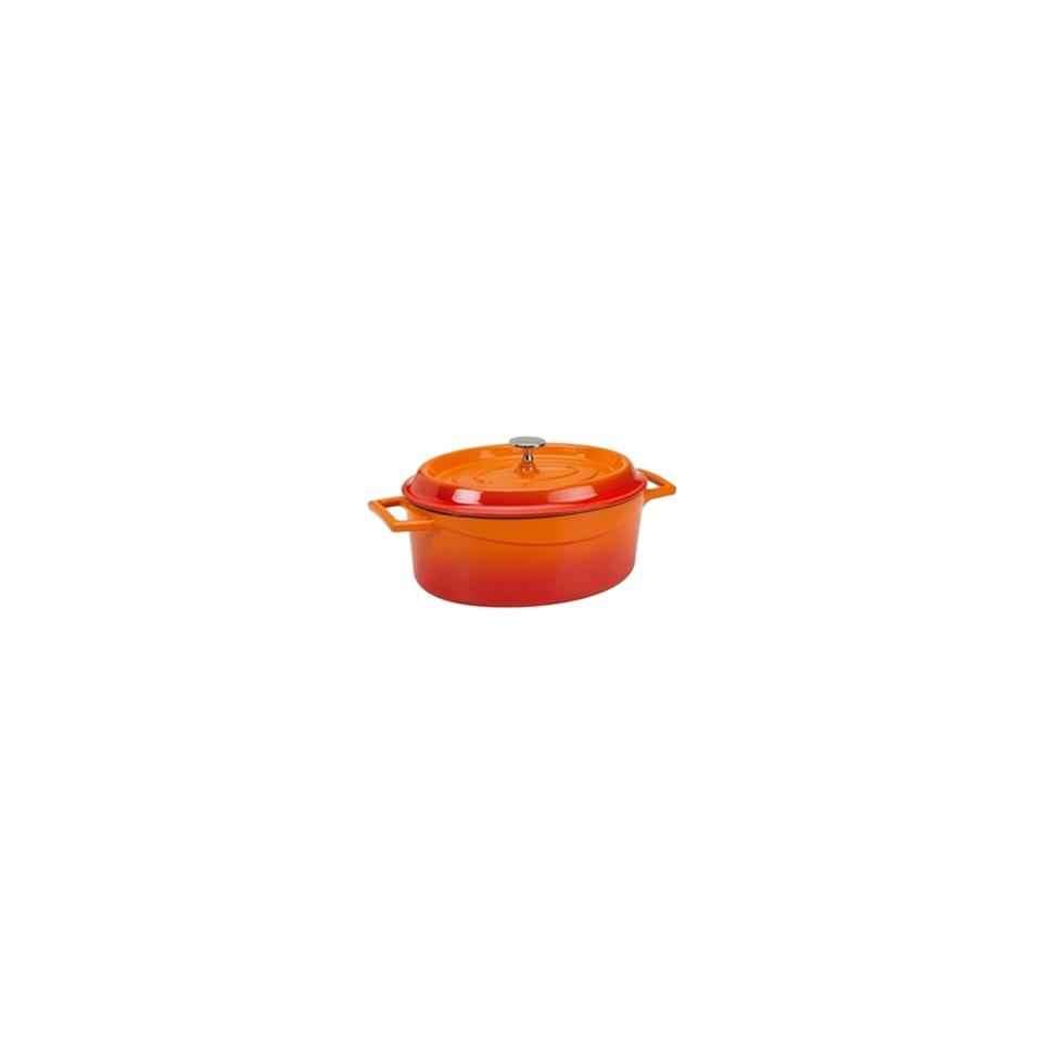 Mini casseruola ovale Slowcook con coperchio in ghisa arancione cm 12x9