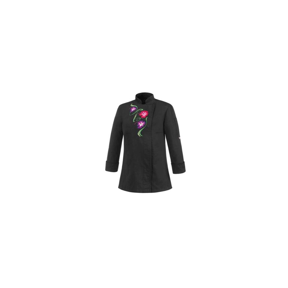 Giacca cuoca Flowers in poliestere e cotone nera con fiori
