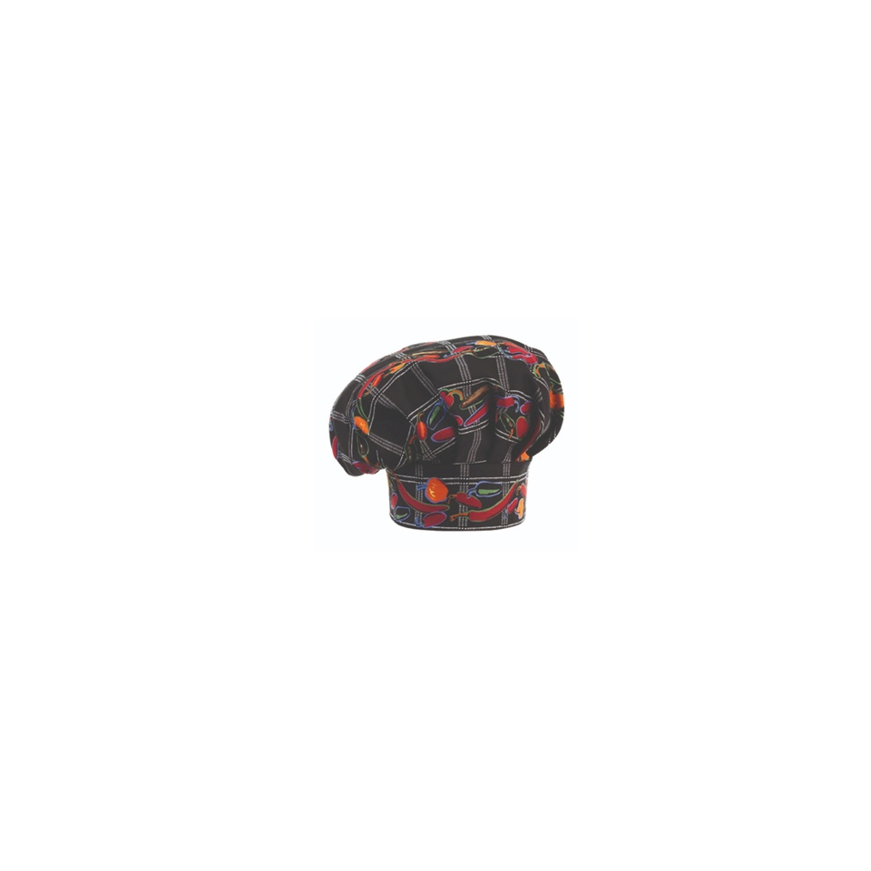 Cappello cuoco Pepper nero con peperoncini 100% cotone