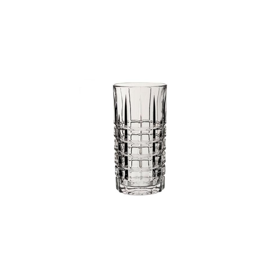 Bicchiere Deco a scacchiera highball in vetro trasparente cl 39