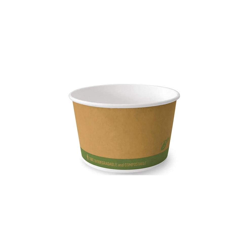 Coppa gelato biodegradabile Bioplast in cartone di cellulosa marrone cl 39
