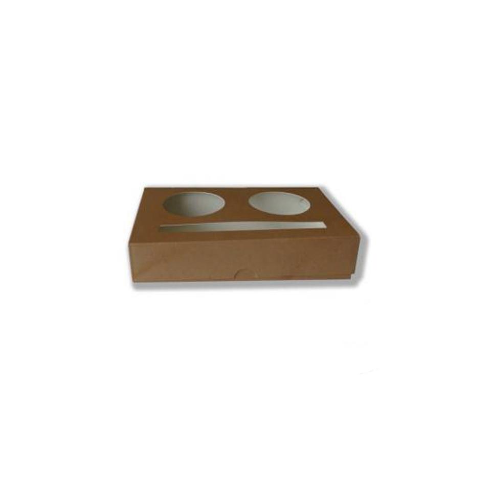 Contenitore monouso asporto 2 bicchieri in carta marrone cm 16x10