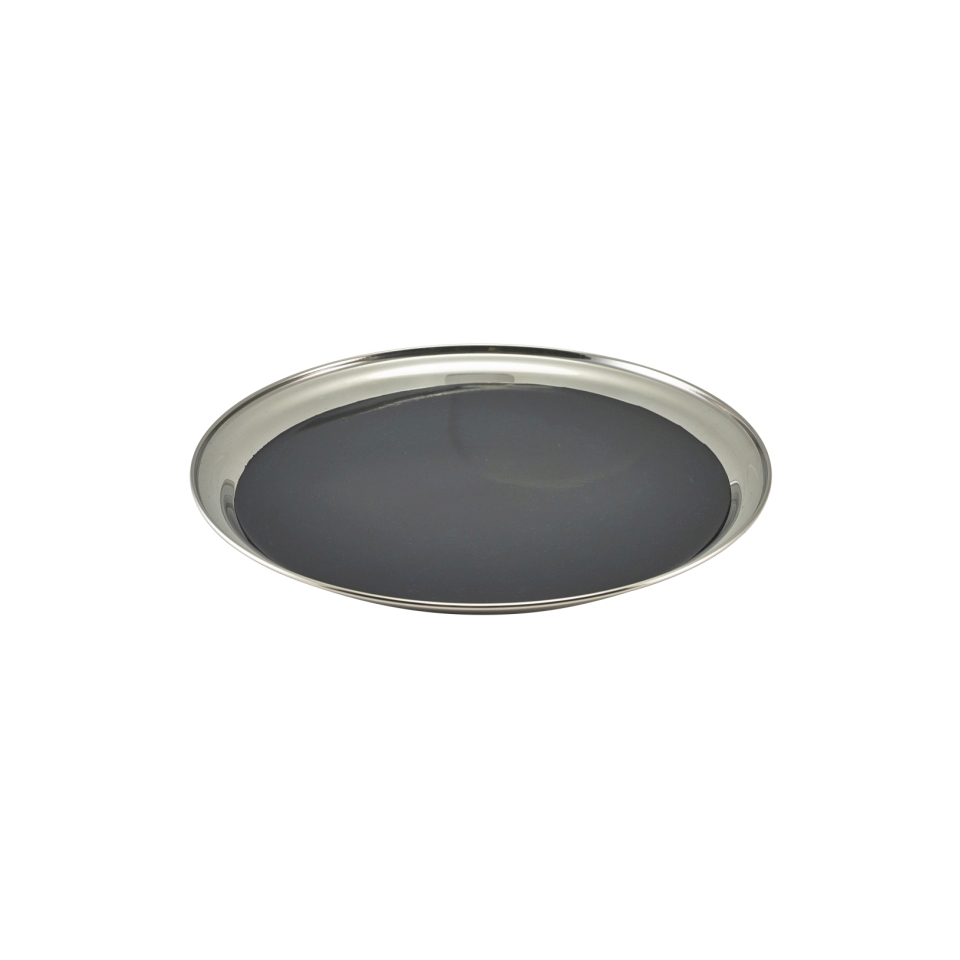Vassoio antiscivolo in acciaio inox con gomma nera cm 30